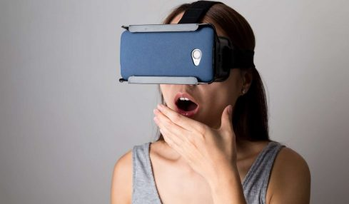 Chinese woman wearing VR headset