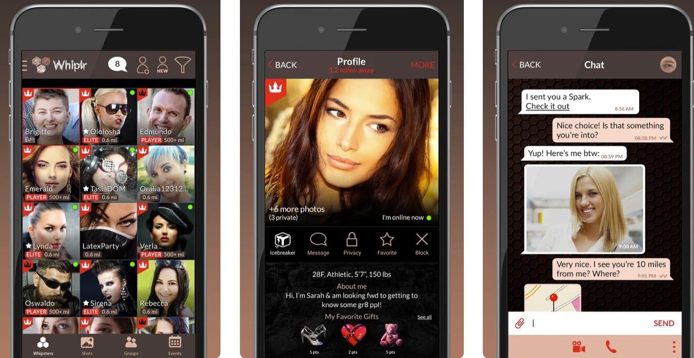 Whiplr app, shown on an iPhone.
